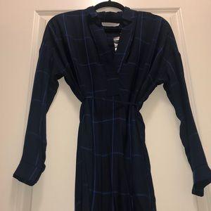 Navy/blue stripped long sleeve midi dress